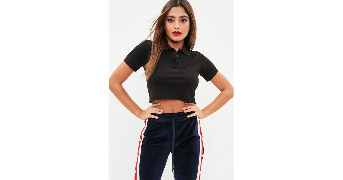 ef8d0c0342cf5 Lyst - Missguided Petite Black Polo Crop Top in Black