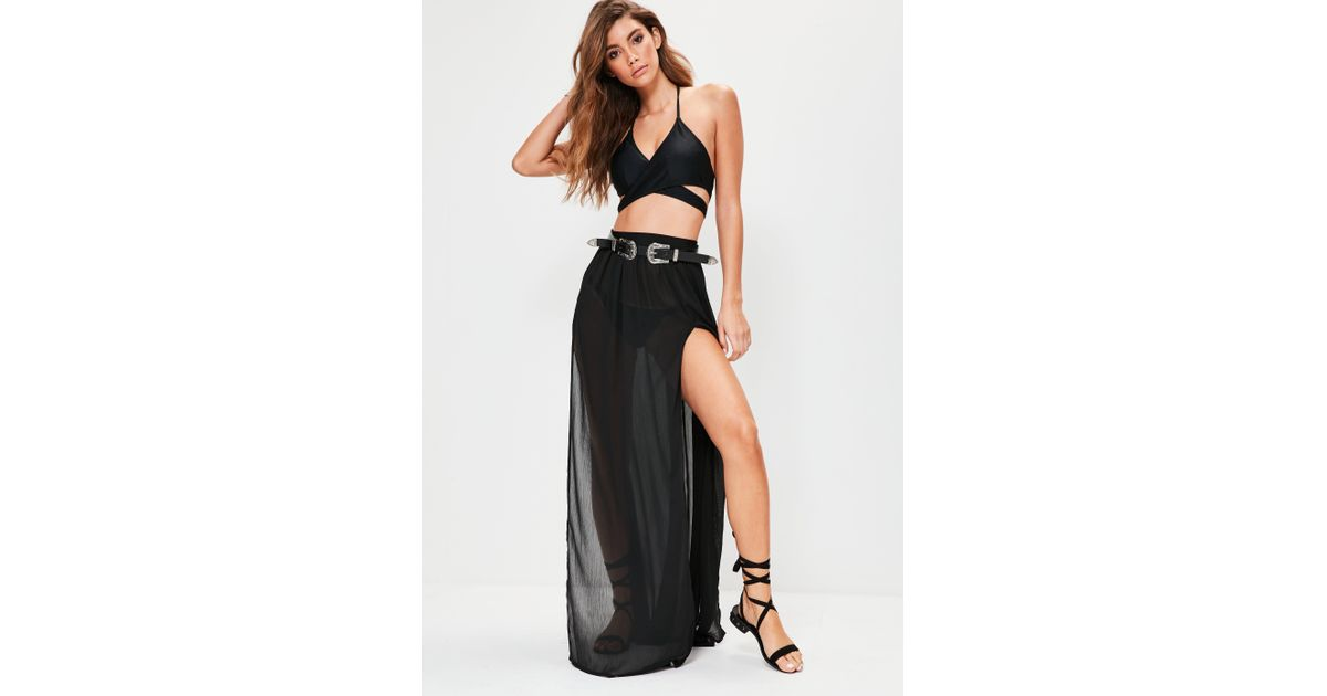 cb307245a19 Missguided Black Chiffon Double Split Beach Maxi Skirt in Black - Lyst