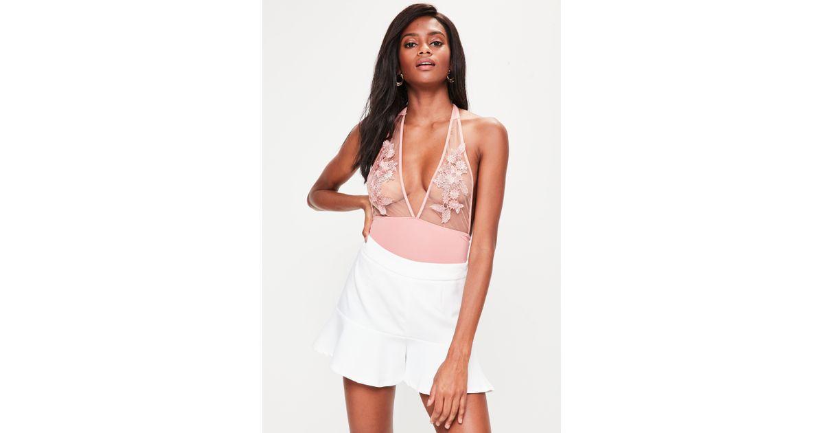 Missguided pink applique halter neck bodysuit in pink lyst