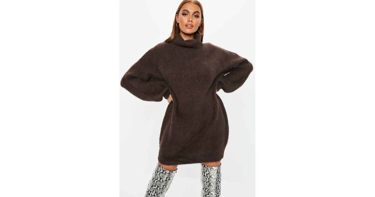 Lyst - Missguided Chocolate Premium Fluffy Roll Neck Sweater Dress in Brown 935c441d6