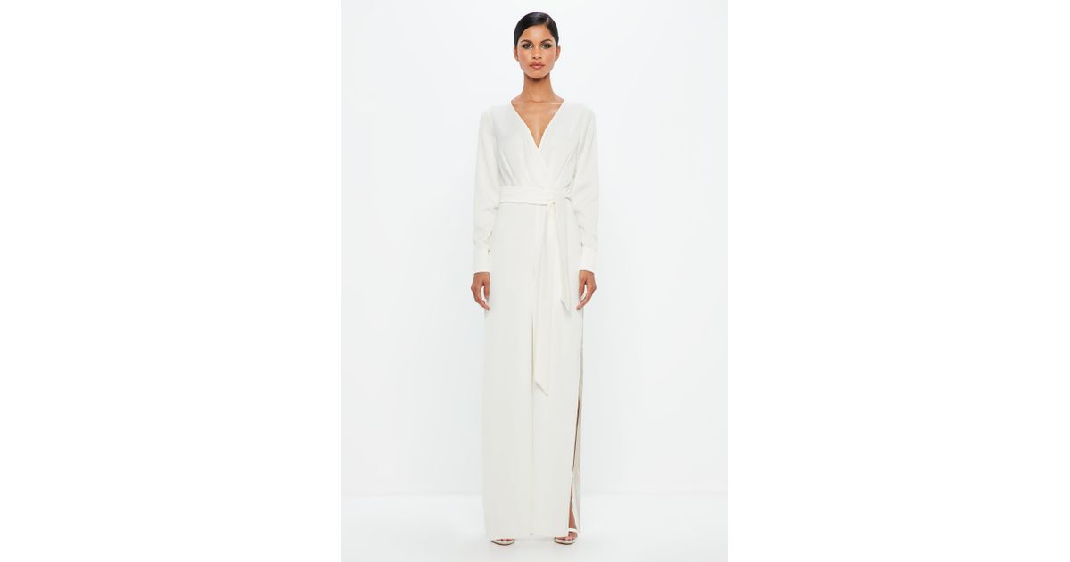 cadb44207576 Lyst - Missguided Peace + Love White Belted Wrap Jumpsuit in White