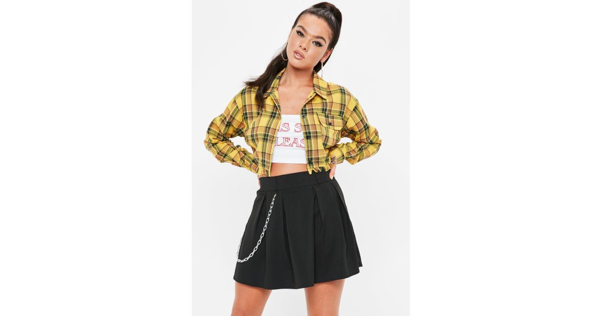 64ef44c0a Missguided Madison Beer X Mustard Yellow Checked Cropped Trucker Shirt -  Lyst