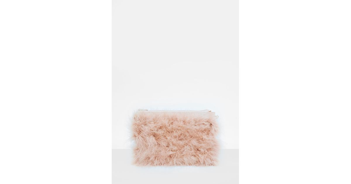 c84b778263 Missguided Pink Feather Zip Front Clutch in Pink - Lyst