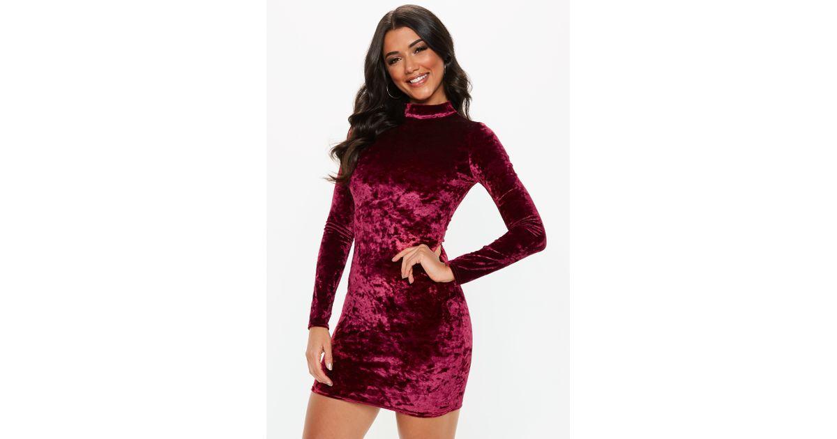 e74b5bd77eb2 Lyst - Missguided Petite Burgundy High Neck Velvet Mini Dress in Red