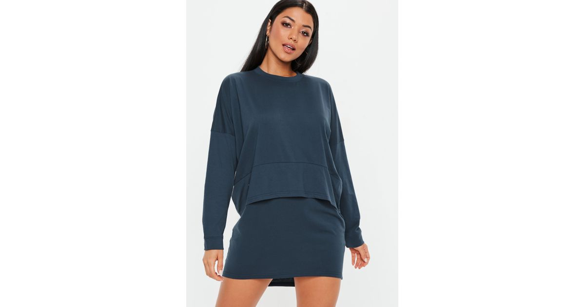 112bdd2f3789a Missguided Navy Oversized Jersey Overlay T Shirt Dress in Blue - Lyst