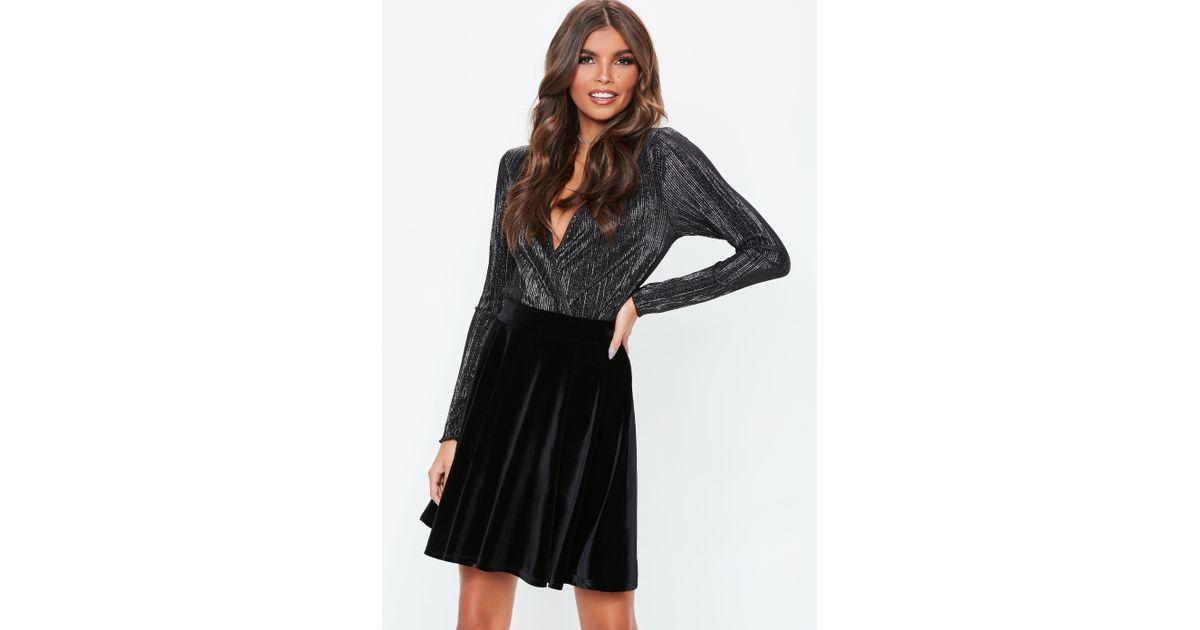 d9bc504a7c Lyst - Missguided Black Velvet Skater Skirt in Black