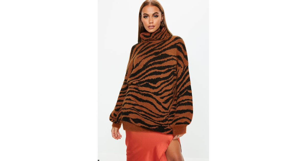 Lyst - Missguided Premium Rust Fluffy Roll Neck Animal Jumper Dress in Brown c1bba3818