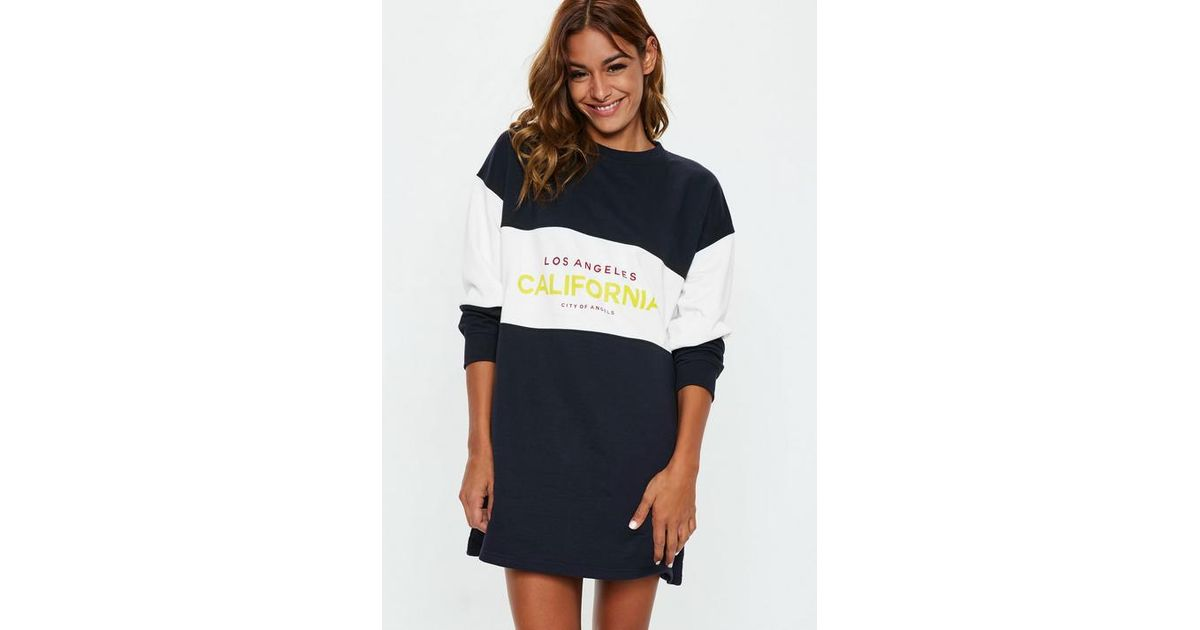 ddd75146a82 Missguided Navy Oversized Colourblock California Slogan Sweater Dress in  Blue - Lyst