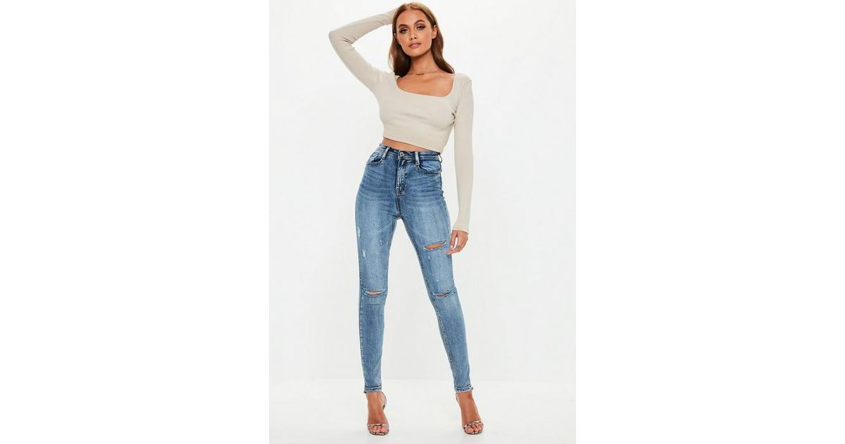 f5831301 Missguided - Blue Sinner Vintage Wash Distressed Knee High Waisted Skinny  Jeans - Lyst