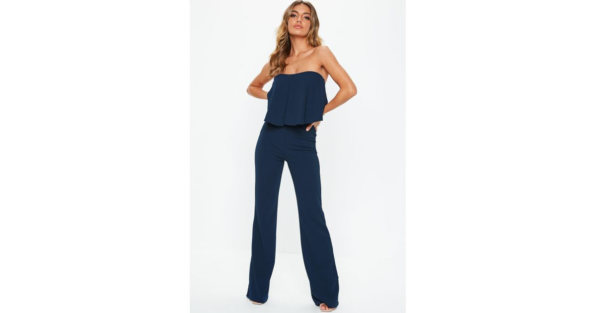 b4075d8634c Lyst - Missguided Tall Navy Bandeau Frill Wide Leg Jumpsuit in Blue
