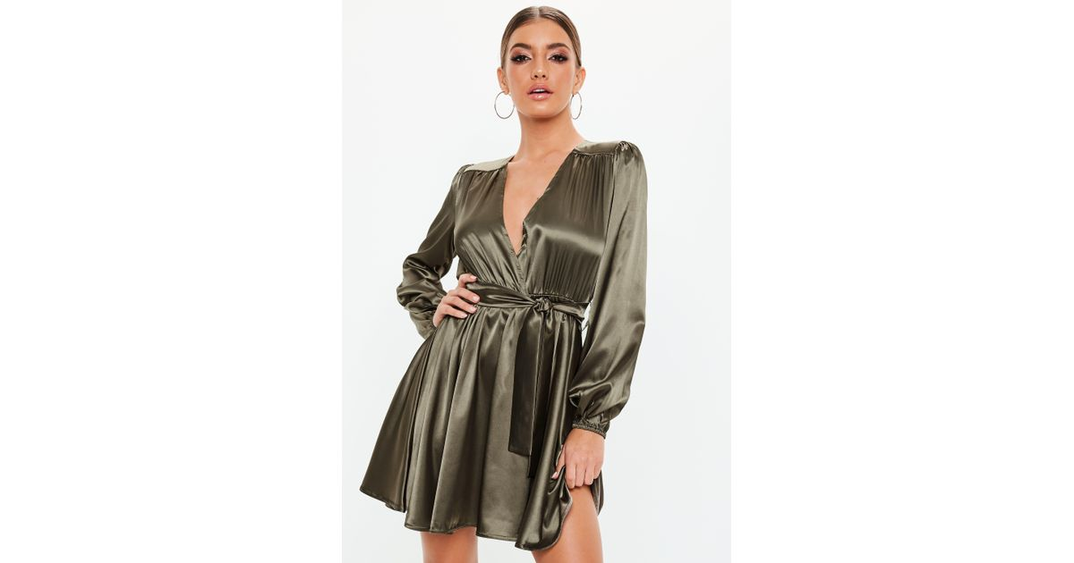Lyst - Missguided Khaki Belted Satin Skater Dress in Natural 59e29f8e3