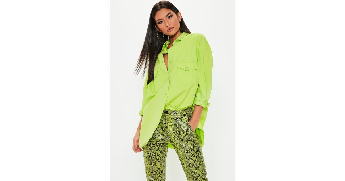 7be974707e Missguided - Neon Green Oversized Denim Shirt - Lyst