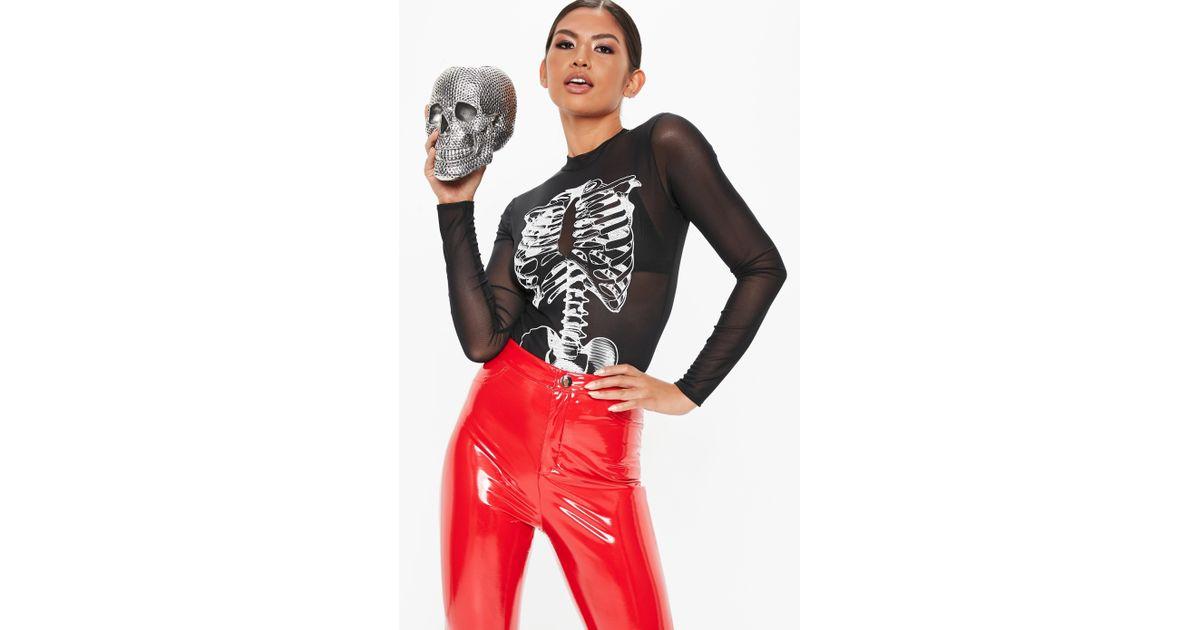 42d7827cd1aa4 Lyst - Missguided Tall Black Skeleton Mesh Bodysuit in Black