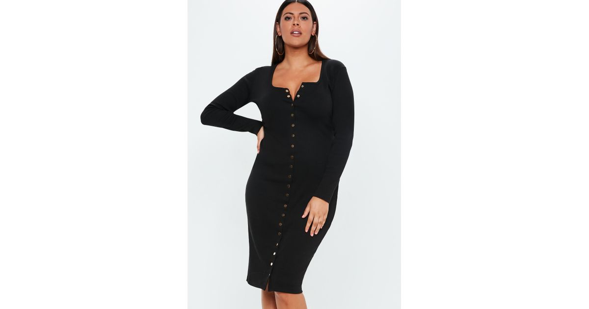 a567f493dd9 Lyst - Missguided Plus Size Black Ribbed Button Front Midi Dress in Black