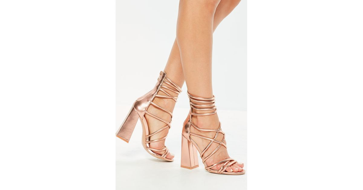 0f9c9d6d20c Missguided Rose Gold Metallic Flared Block Heel Strappy Gladiator Sandals  in Metallic - Lyst