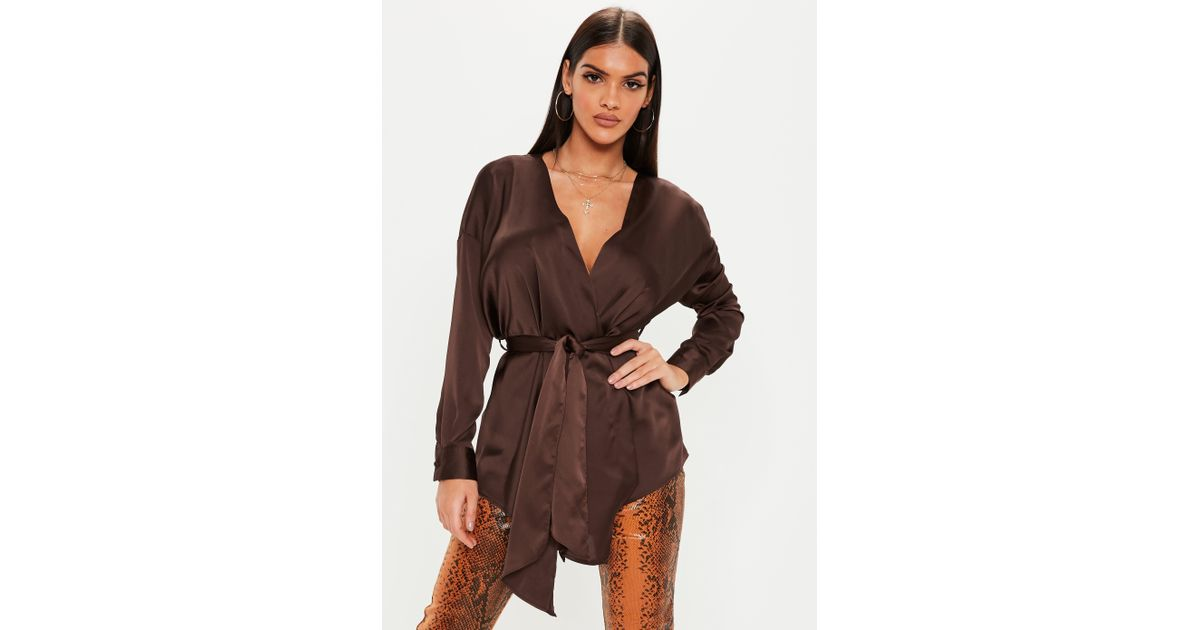 9acd9fd002028 Lyst - Missguided Chocolate Brown Plunge Tie Waist Blouse in Brown