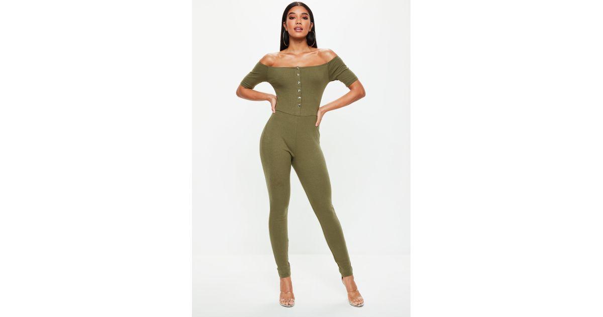 2188e743d51 Lyst - Missguided Khaki Popper Front Bardot Jumpsuit in Green