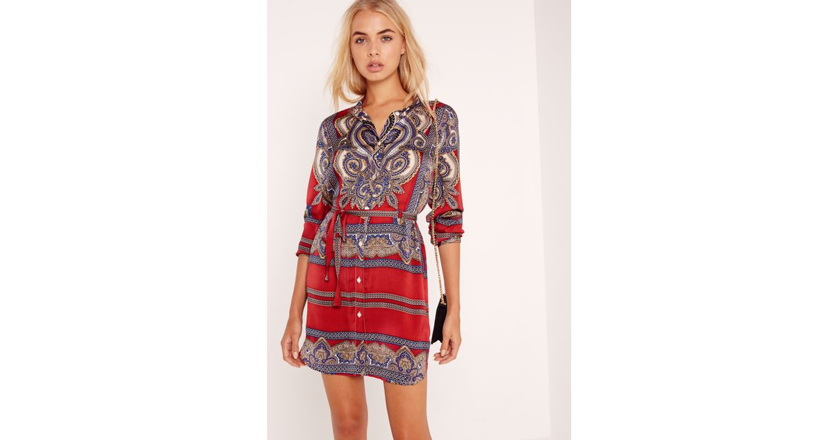 Missguided Paisley Print Shirt Dress Burgundy In Red Lyst