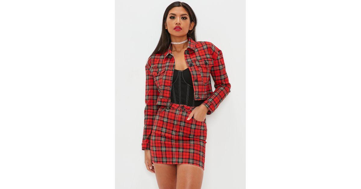 bc0233cd3 Missguided Red Tartan Denim Mini Skirt Co-ord in Red - Lyst