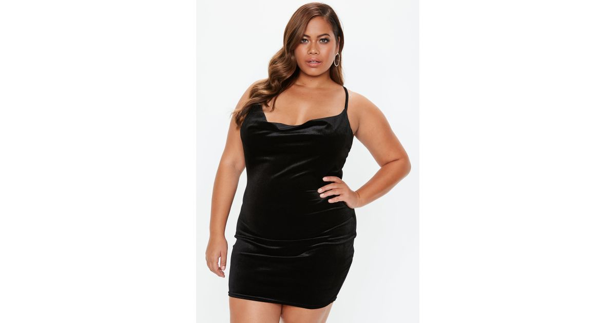 0f3a8ec64b4d3 Lyst - Missguided Plus Size Black Cowl Neck Strappy Velvet Dress in Black