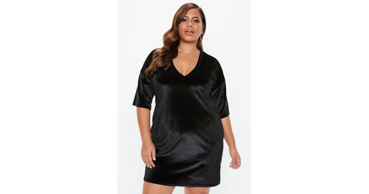 e139860bdeb25 Lyst - Missguided Plus Size Black V Neck Velvet T Shirt Dress in Black