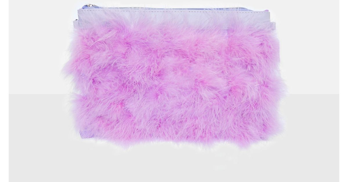 06ce19fc5a Lyst - Missguided Purple Feather Zip Front Clutch in Purple