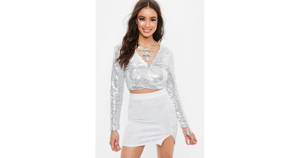 4e98d214103 Missguided Grey Sequins Crop Top in Gray - Lyst