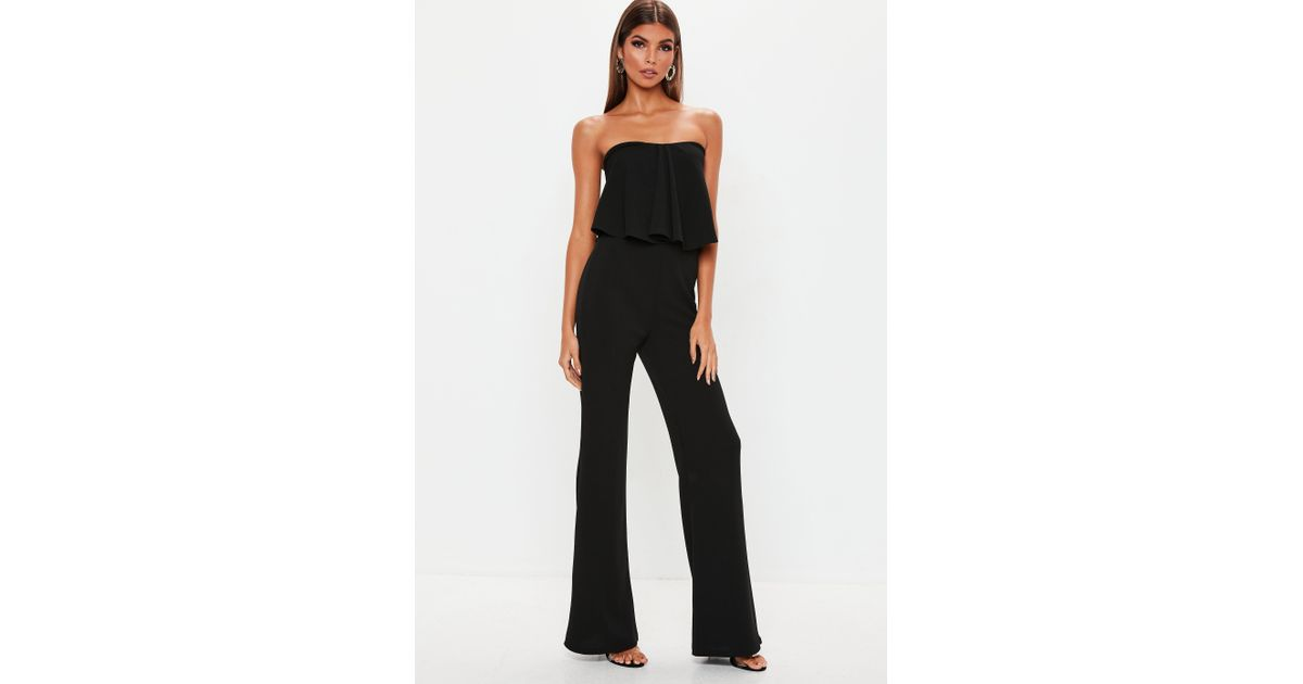 c3180a09ad0 Lyst - Missguided Black Bandeau Frill Wide Leg Jumpsuit in Black - Save  16.66666666666667%