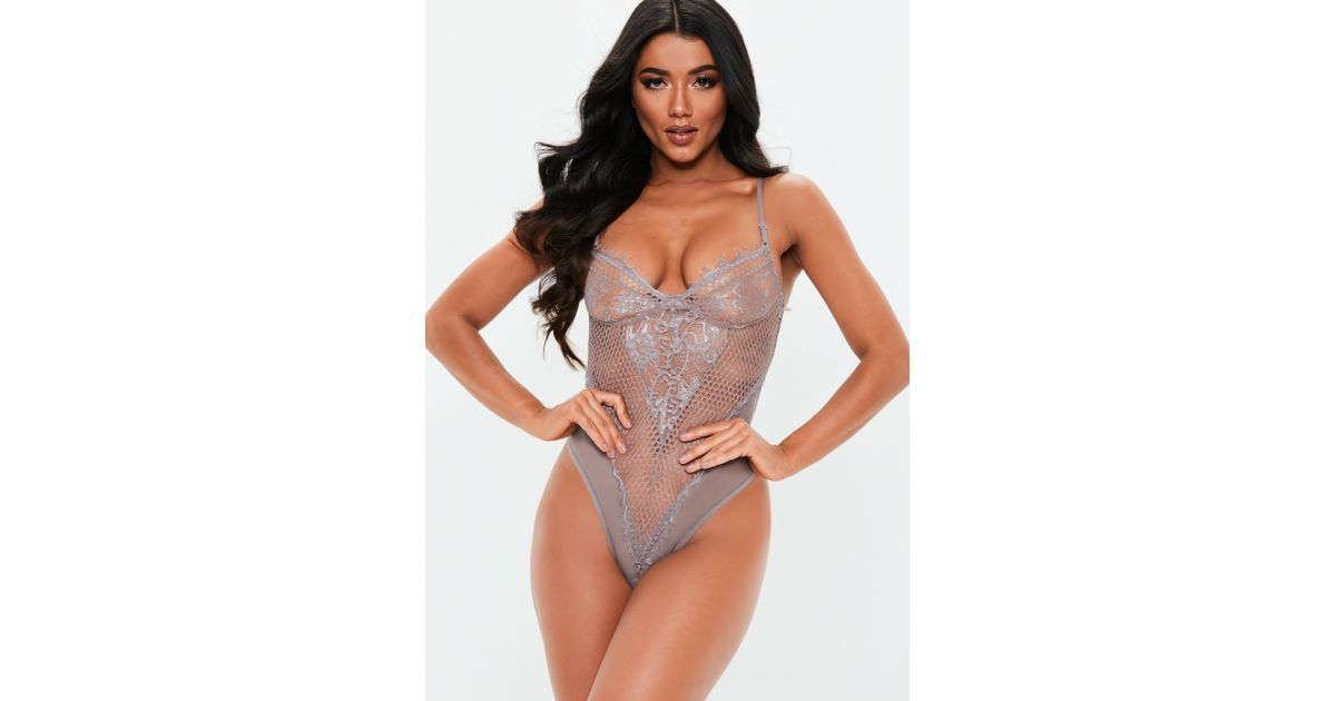 7a93630ec6 Missguided Gray Fishnet Lace Insert Cupped Bodysuit in Gray - Lyst
