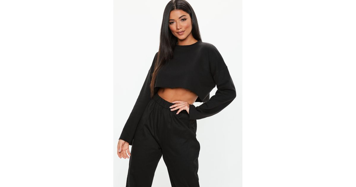 Sweatshirt In Lyst Black Loopback Cropped Missguided vAg4ZIqgF