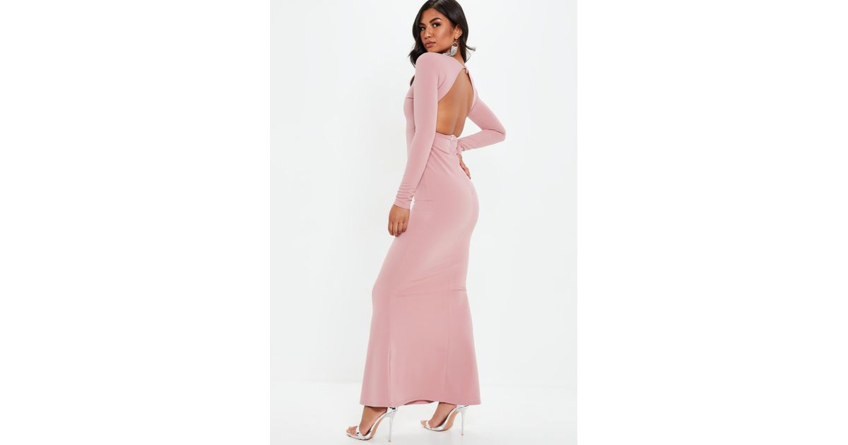 c31cbb006b6 Lyst - Missguided Mauve Long Sleeve Open Back Maxi Dress in Purple