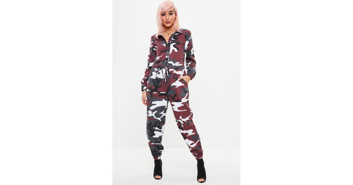 76b83d6c7ca Missguided Petite Red Camo Boiler Jumpsuit in Red - Lyst