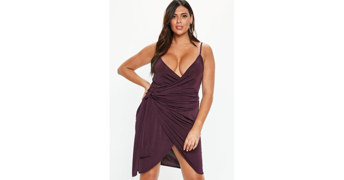 Missguided - Purple Plus Size Plum Wrap Cami Dress - Lyst