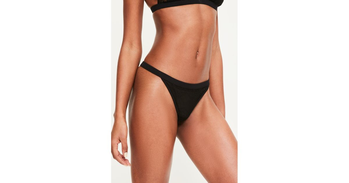 2bbce9a1e6ce3 Lyst - Missguided Black Lace Pattern Thong in Black
