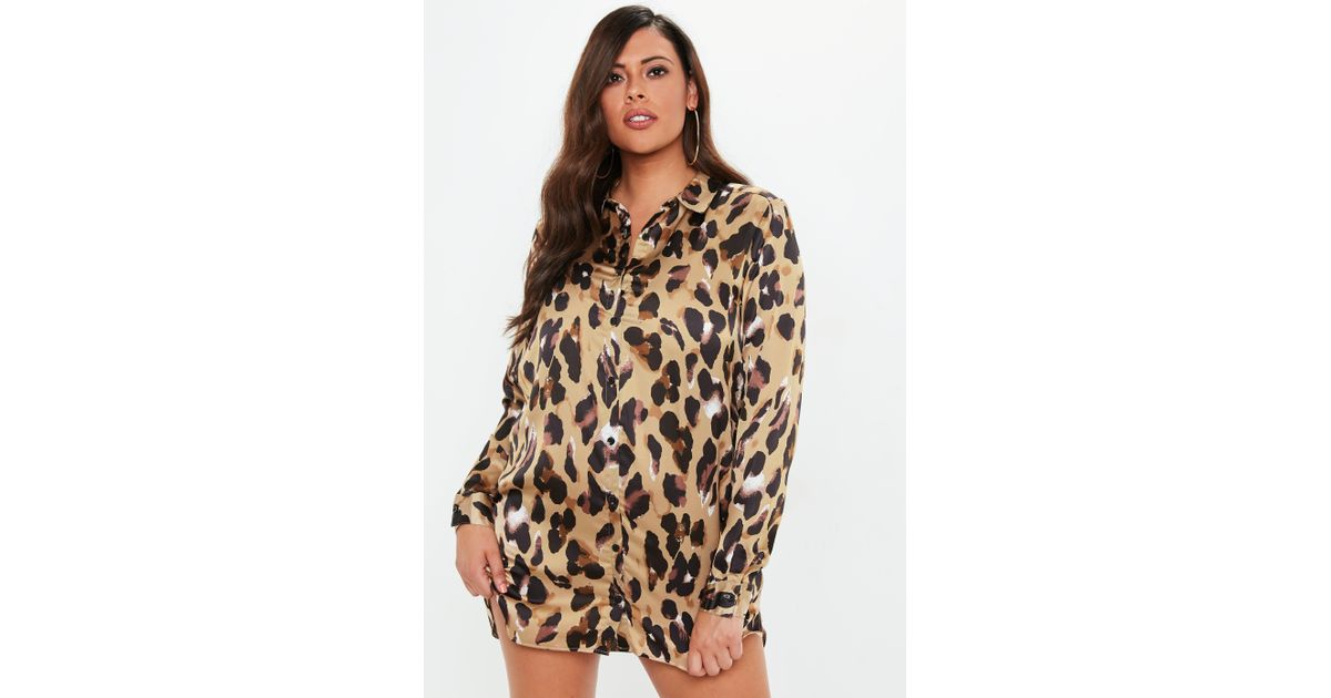 Lyst Missguided Plus Size Leopard Print Satin Shirt Dress In Brown