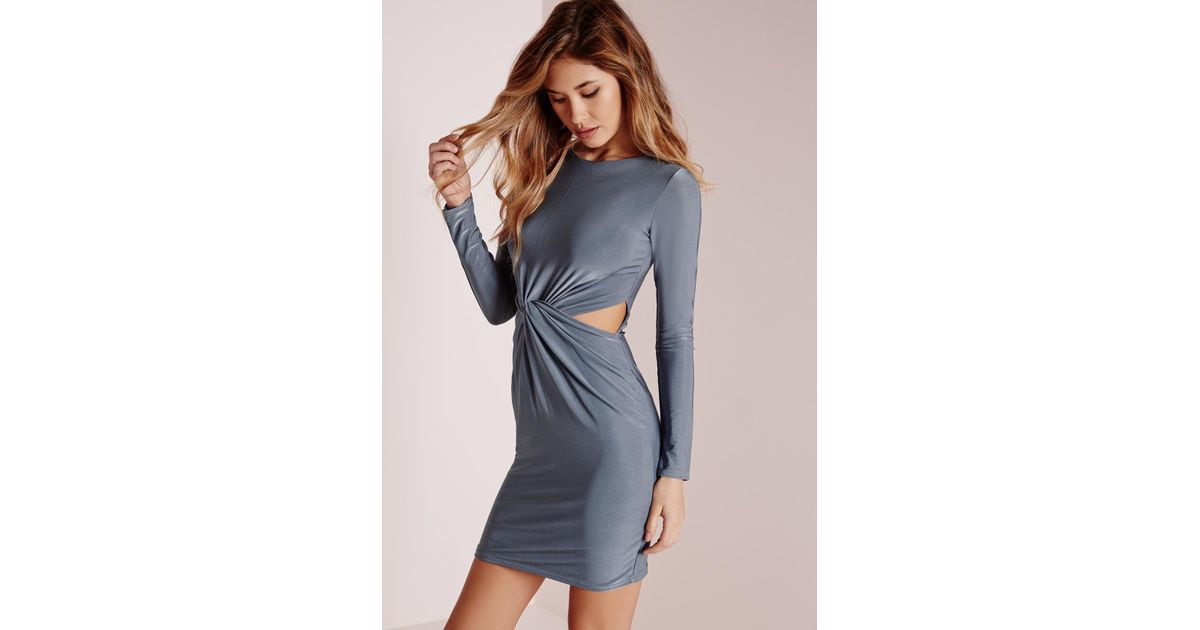 38cc235b137c Lyst - Missguided Slinky Long Sleeve Knot Front Bodycon Dress Blue in Gray