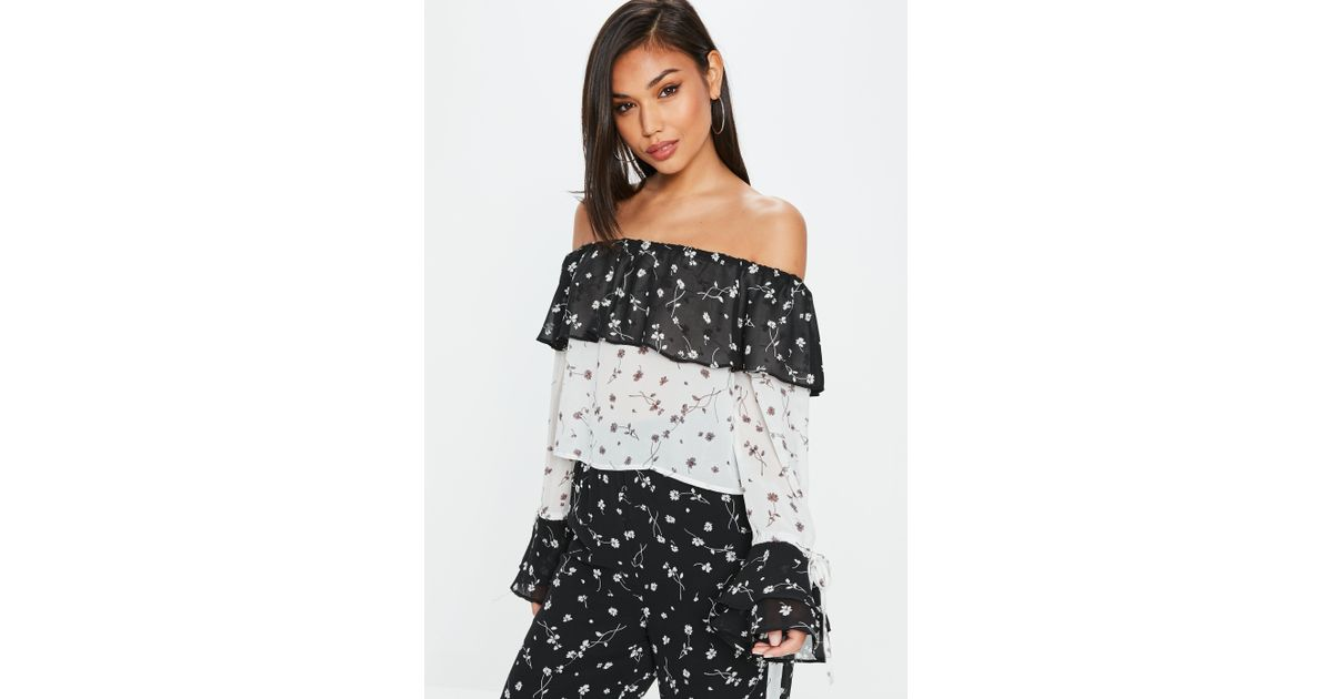 409c89fd7e9de8 Missguided Tall Black Floral Bardot Top in Black - Lyst