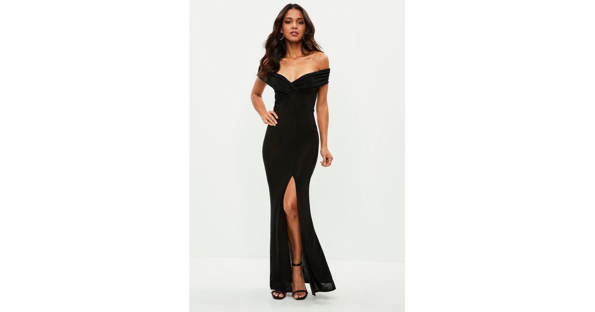 ef36dda2f1ab Lyst Missguided Black Slinky Bardot Wrap Front Split Maxi Dress In