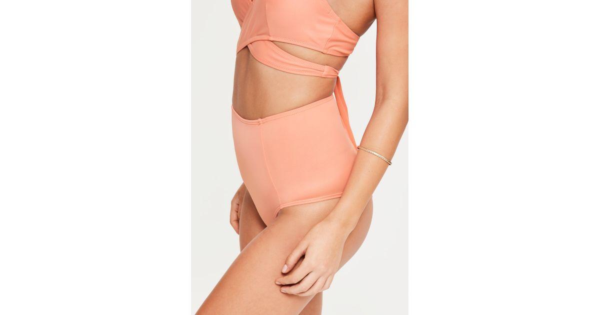 b58c85468c75b Missguided Peach High Waisted Bikini Bottoms - Mix & Match in Orange - Lyst