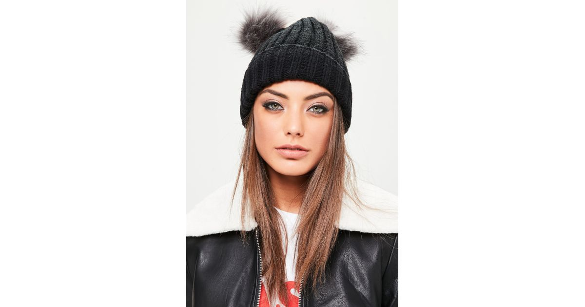 Lyst - Missguided Black 2 Grey Pom Poms Beanie Hat in Black 0be3970696ae