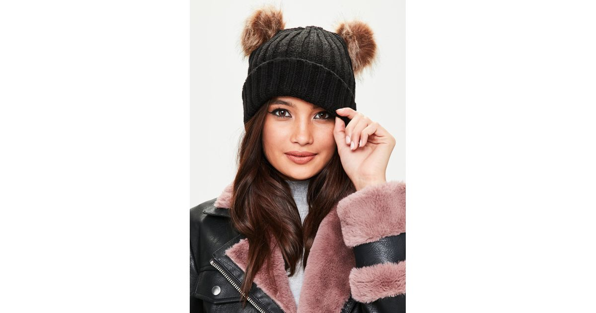 Lyst - Missguided Black Beanie With Double Pom Poms in Black d92a20a576ad