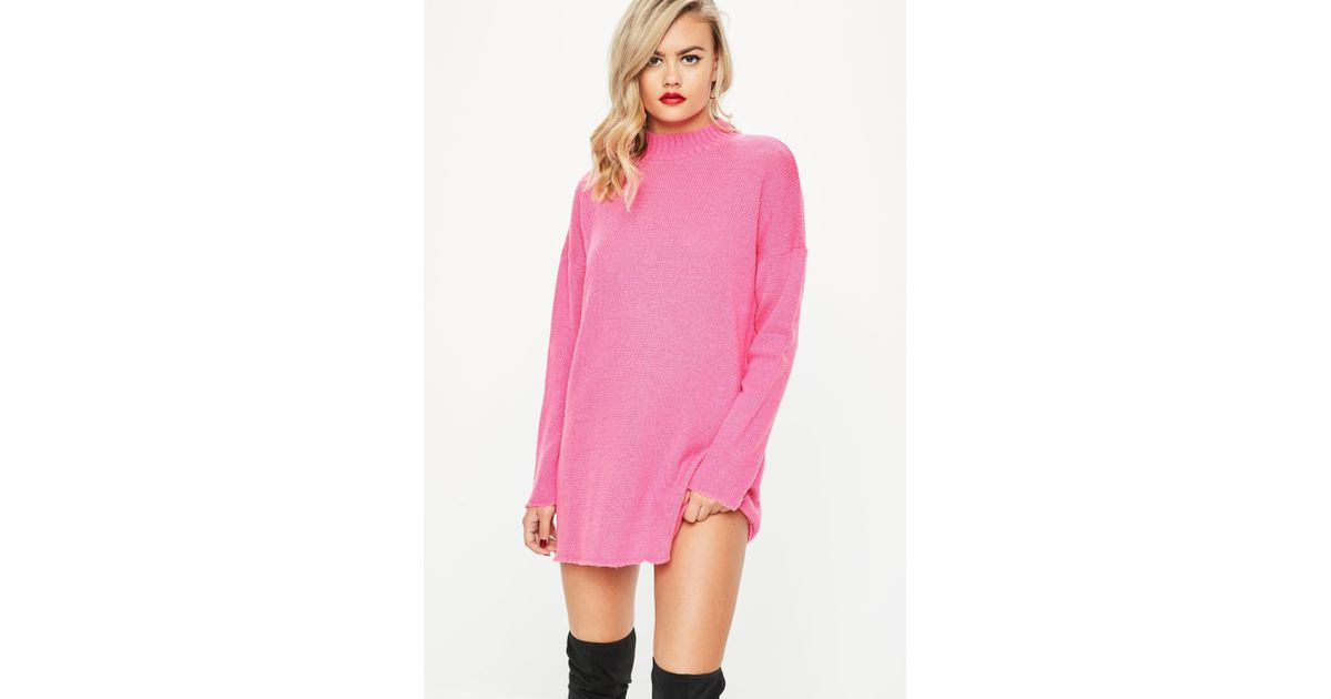 ccd7ba43bbb Missguided Hot Pink High Neck Slouchy Jumper Dress in Pink - Lyst