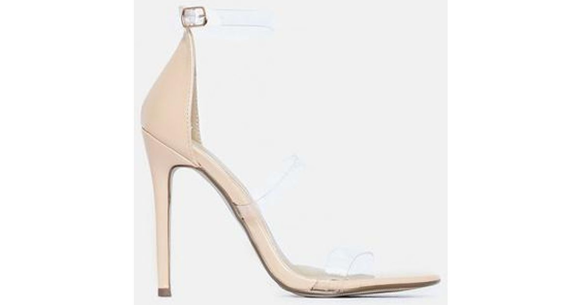 b9613ef287d Missguided - Natural Nude Three Strap Heels - Lyst