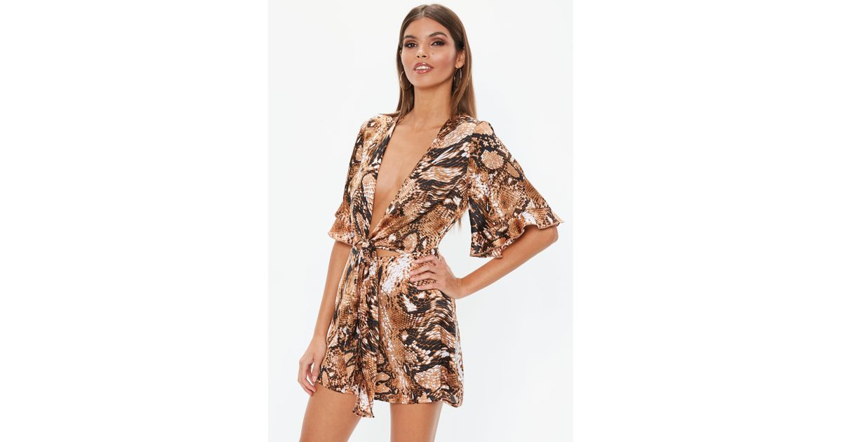 d46da7a14bb Lyst - Missguided Camel Snake Print Tie Front Kimono Playsuit in Natural