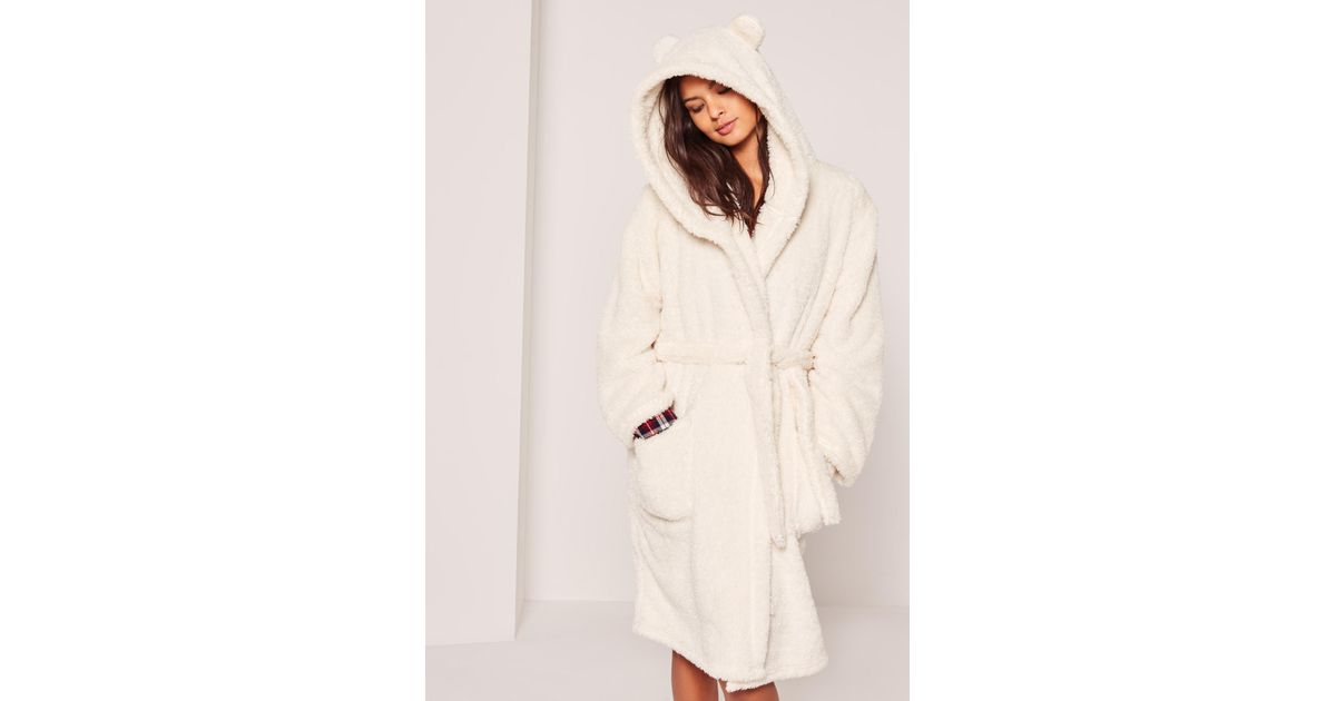 Lyst - Missguided White Soft Fleece Ear Teddy Dressing Gown in White