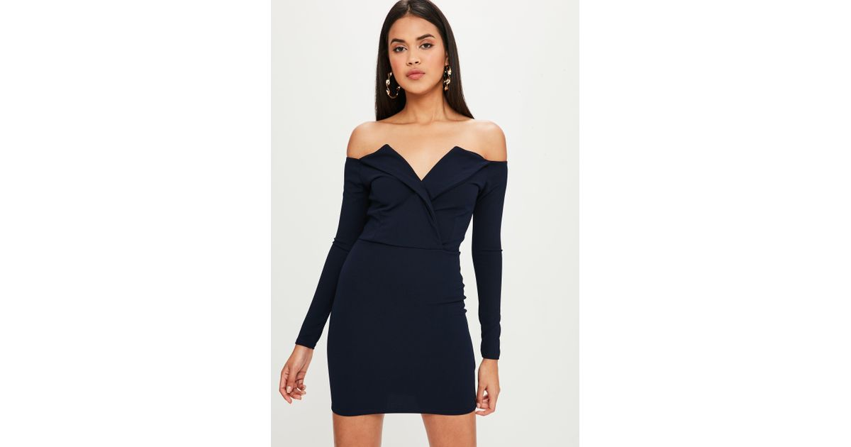 a73091ff8c Lyst - Missguided Navy Bardot Foldover Wrap Dress in Blue - Save 64%