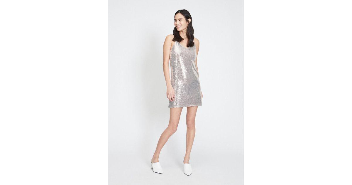 baf83c0c55 Miss Selfridge Champagne Sequin Embellished Mini Slip Dress - Lyst