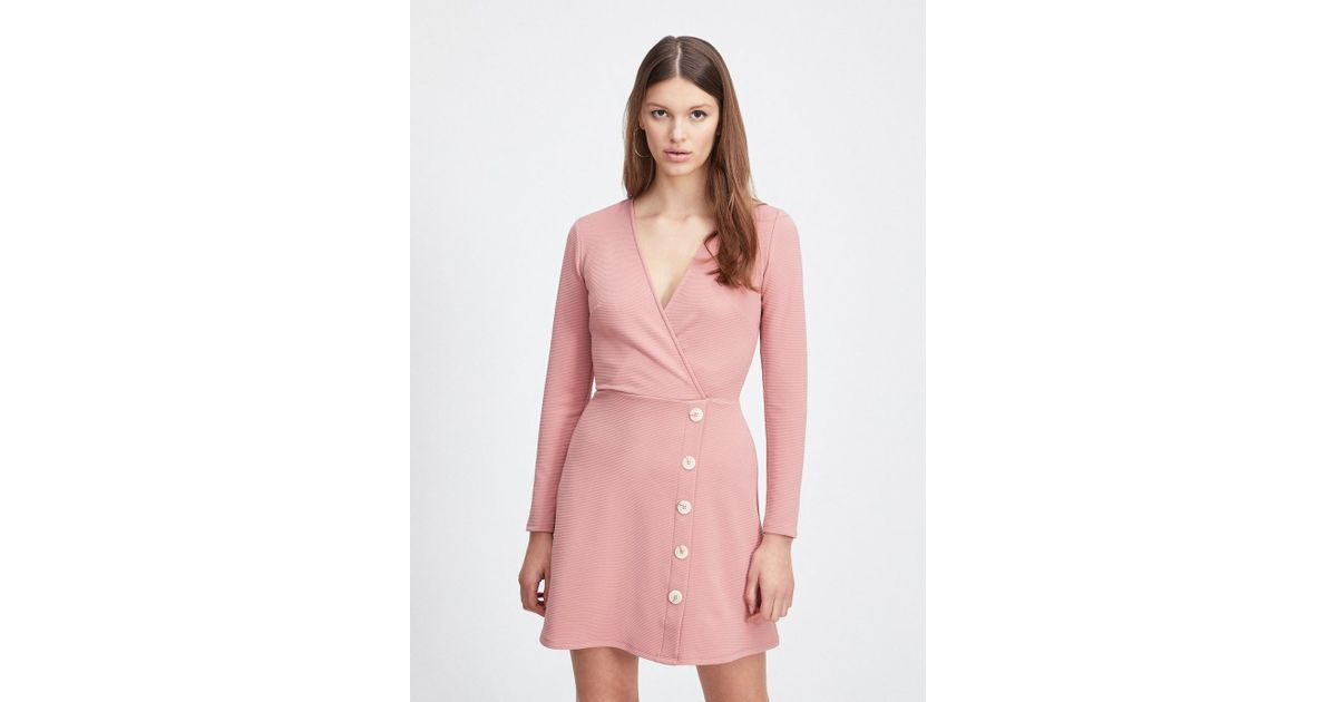 39f046da862 Lyst - Miss Selfridge Nude Rib Button Fit And Flare Mini Dress in Pink