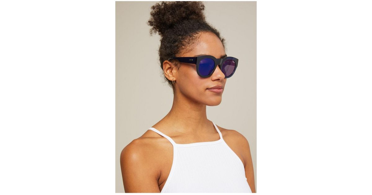 a3d3173e4f Miss Selfridge Quay Australia If Only Navy Round Sunglasses in Blue - Lyst