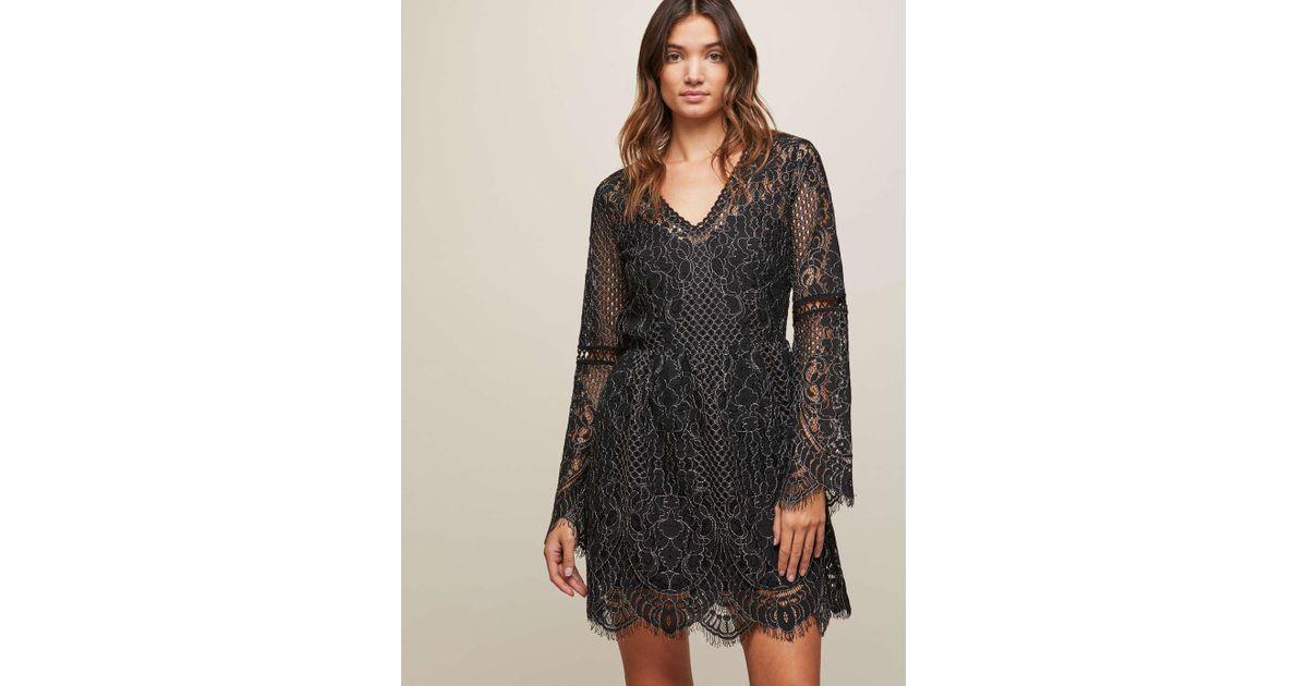 6a6015470e Miss Selfridge Black Bell Sleeve Lace Skater Dress in Black - Lyst